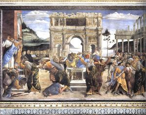 Sandro Botticelli - The Punishment of Korah and the Stoning of Moses and Aaron (Cappella Sistina, Vatican)