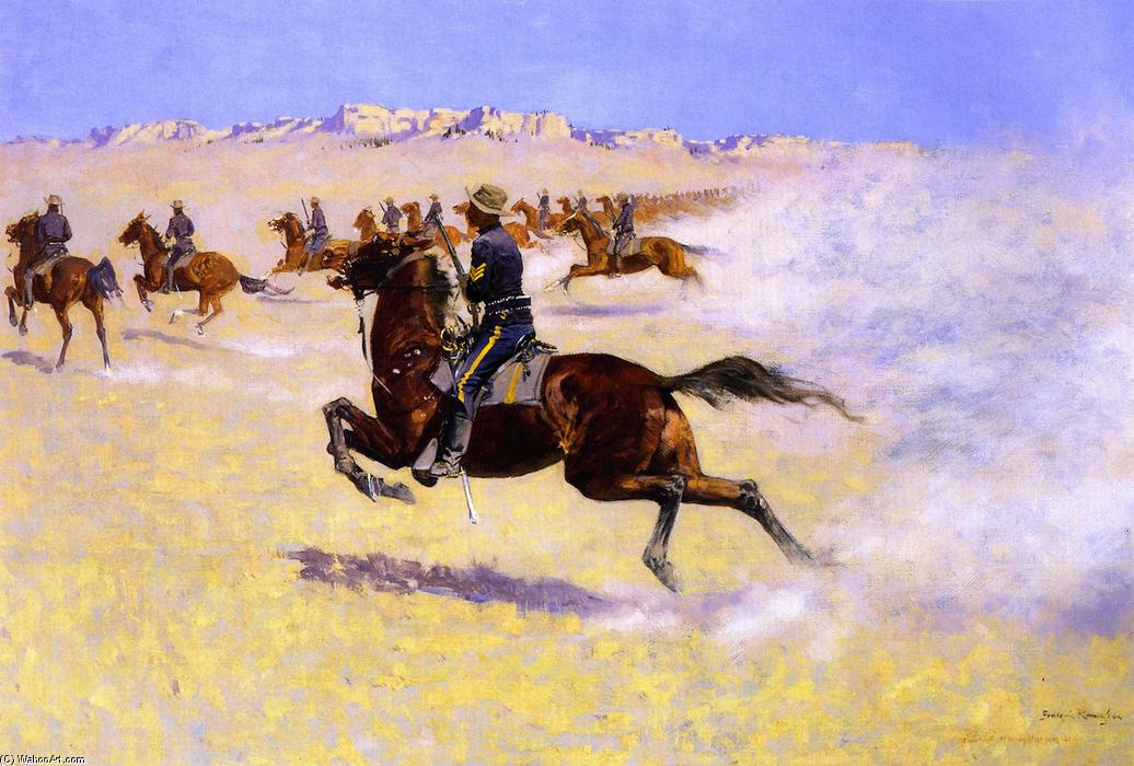 The Pursuit, Oil On Canvas by Frederic Remington (1861-1909, United States)