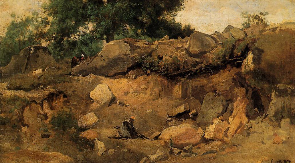 Quarry of the Chaise-Mre at Fontainebleau, 1830 by Jean Baptiste Camille Corot (1796-1875, France) | Paintings Reproductions Jean Baptiste Camille Corot | WahooArt.com