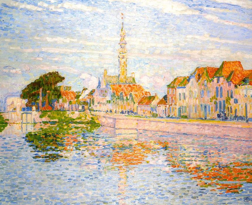 The Quay at Verre, Zeeland, Oil On Canvas by Theo Van Rysselberghe (1862-1926, Belgium)