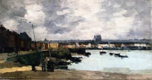 Albert-Charles Lebourg (Albert-Marie Lebourg) - The Quays of Dieppe, after the Rain - (Famous paintings reproduction)