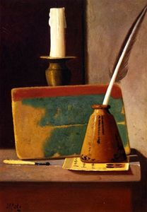 John Frederick Peto - Quill in Inkwell, Book and Candle