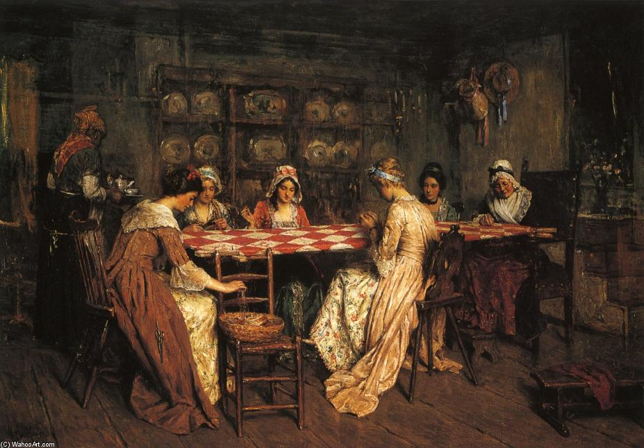 Quilting Bee, Oil On Canvas by Henry Mosler (1841-1920, Poland)