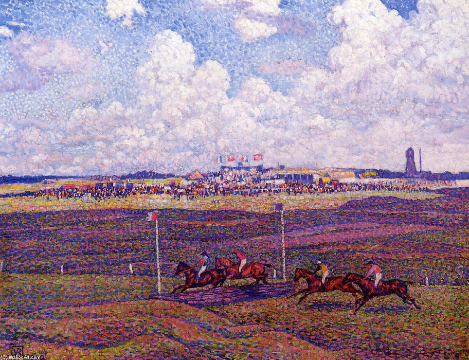 The Race Track at Boulogne sur Mer, 1900 by Theo Van Rysselberghe (1862-1926, Belgium) | Painting Copy | WahooArt.com