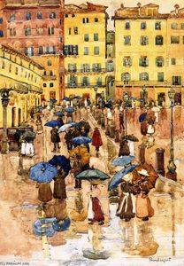 Maurice Brazil Prendergast - Rainy Day, Sienna (also known as Campo Vittorio Emanuele, Siena)