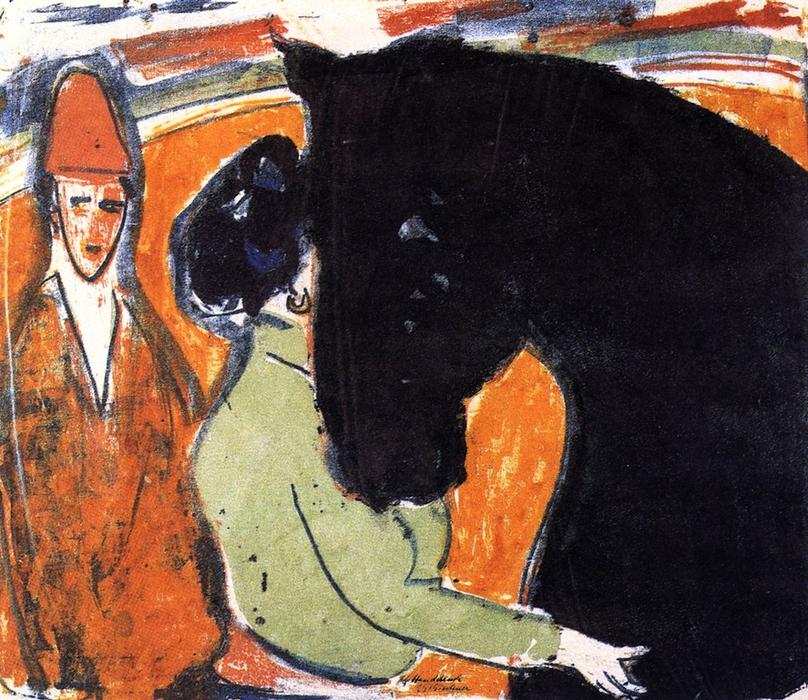 Rapphengst, Reiterin und Clown, Lithography by Ernst Ludwig Kirchner (1880-1938, Germany)