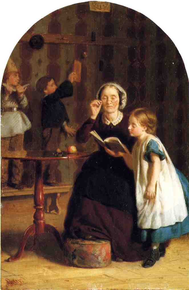 The Reading Lesson by Seymour Joseph Guy (1824-1910, United Kingdom) | Oil Painting | WahooArt.com