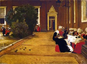 Max Liebermann - Recess in the Amsterdam Orphanage - View of the Inner Courtyard, Study