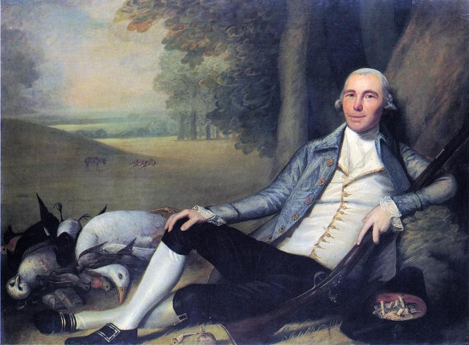 Reclining Hunter, 1783 by Ralph Earl (1751-1801, United States) | Art Reproduction | WahooArt.com