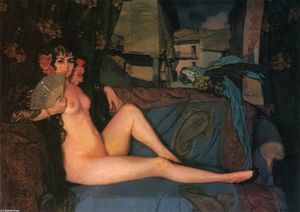 Ignacio Zuloaga Y Zabaleta - Reclining Maja with Blue and Gold