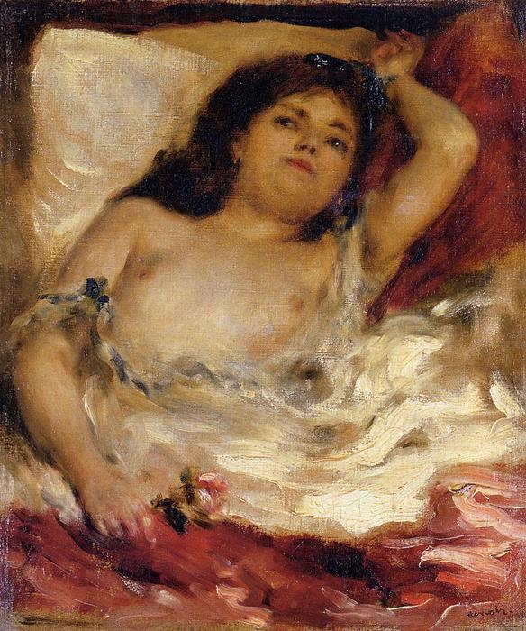Order Art Reproductions | Reclining Semi-Nude (also known as nude male half-length), 1850 by Pierre-Auguste Renoir (1841-1919, France) | WahooArt.com
