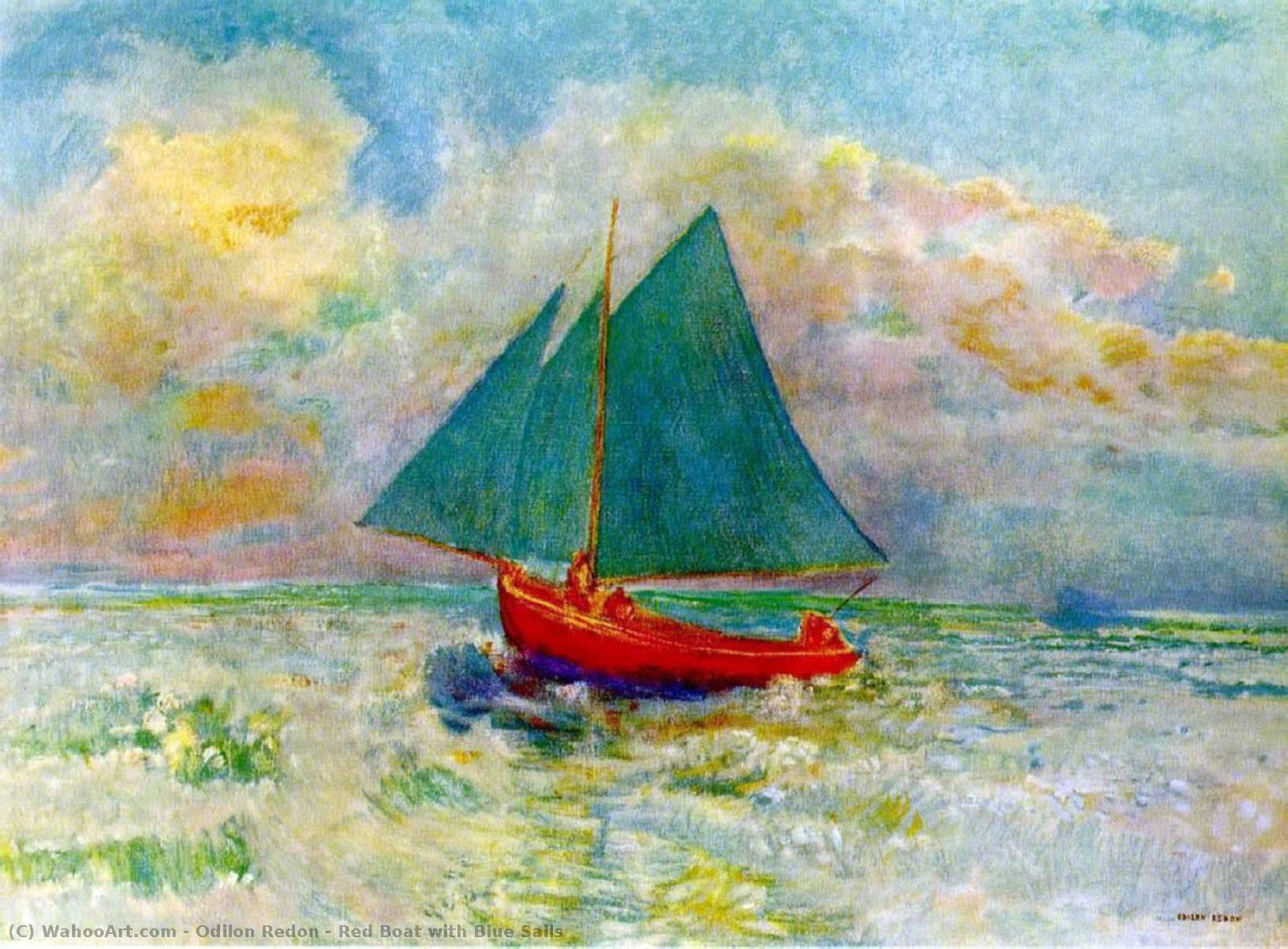 Order Reproductions | Red Boat with Blue Sails, 1907 by Odilon Redon (1840-1916, France) | WahooArt.com