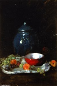 William Merritt Chase - The Red Bowl: Still LIfe (also known as The LIttle Red Bowl)