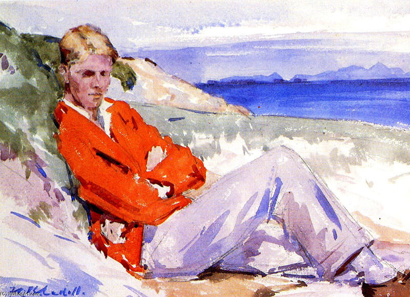 The Red Coat by Francis Campbell Boileau Cadell (1883-1937) | WahooArt.com