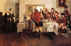Howard Pyle - Red Coat Soldiers Toasting the Ladies of the House