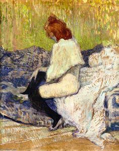 Henri De Toulouse Lautrec - Red-Headed Woman Sitting on the Couch (Justine Dieuhl)