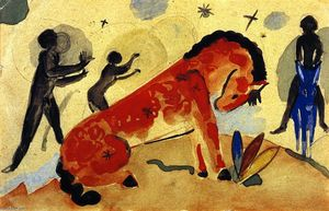 Franz Marc - Red Horse with Black Figures