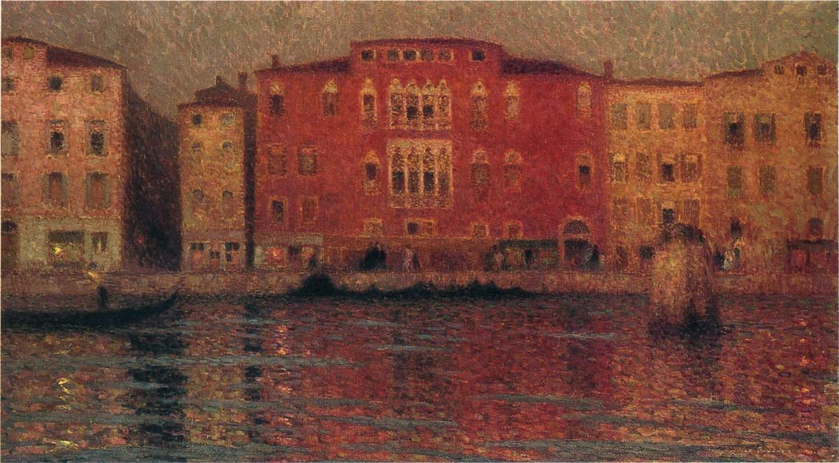 The Red Palace in Venice, Oil On Canvas by Henri Eugène Augustin Le Sidaner  (order Fine Art Hand Painted Oil Painting Henri Eugène Augustin Le Sidaner)