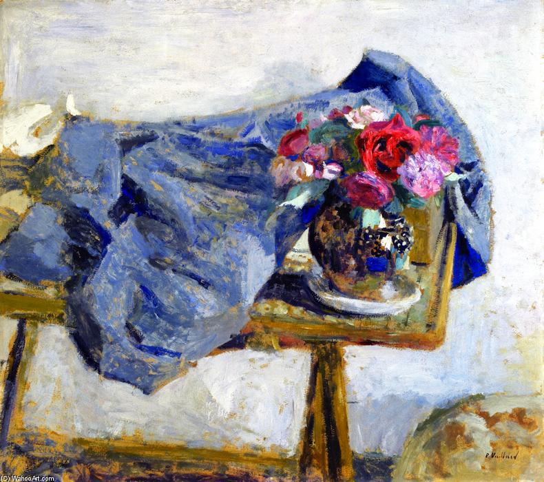 Red Roses and a Cloth on a Table, Oil On Panel by Jean Edouard Vuillard (1868-1940, France)
