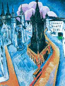 Ernst Ludwig Kirchner - The Red Tower at Halle - (Famous paintings reproduction)
