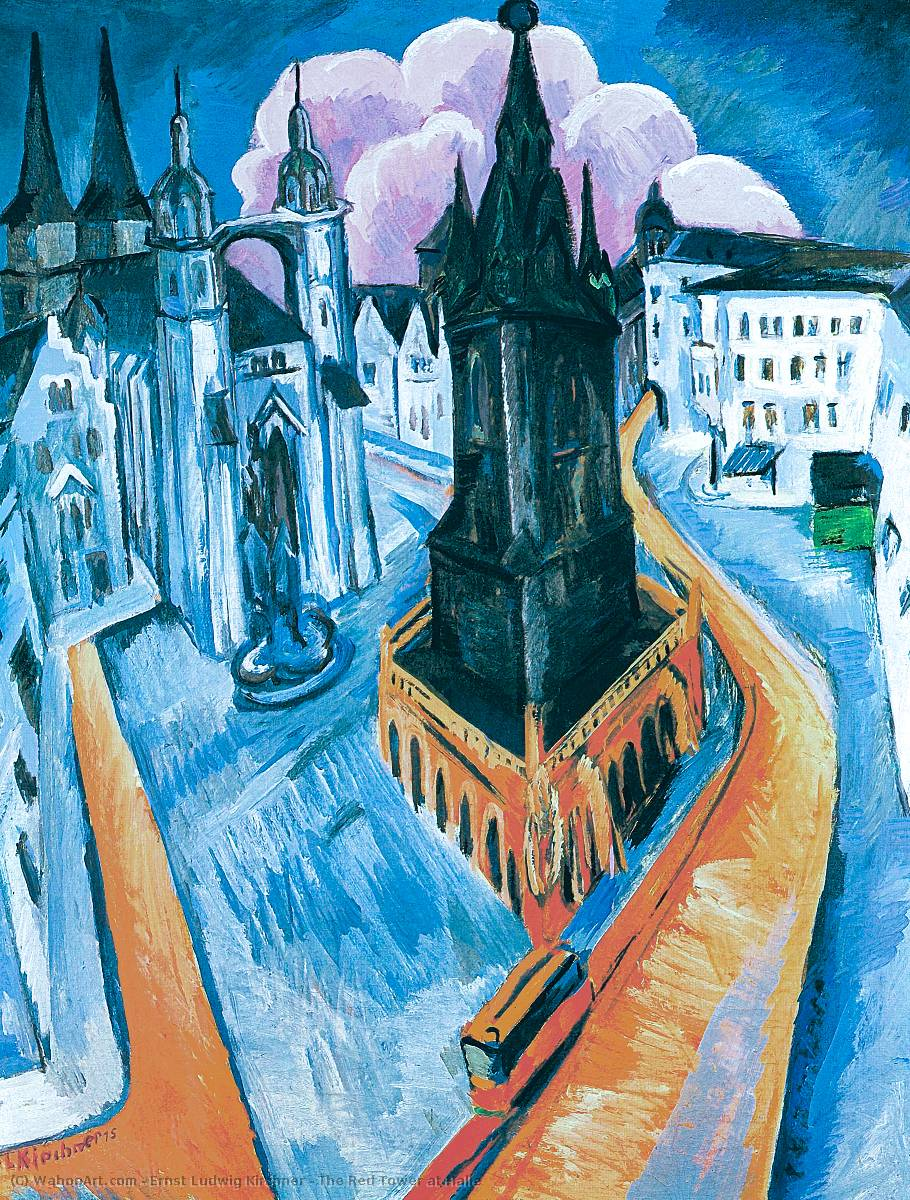 The Red Tower at Halle, 1914 by Ernst Ludwig Kirchner (1880-1938, Germany) | Art Reproductions Ernst Ludwig Kirchner | WahooArt.com