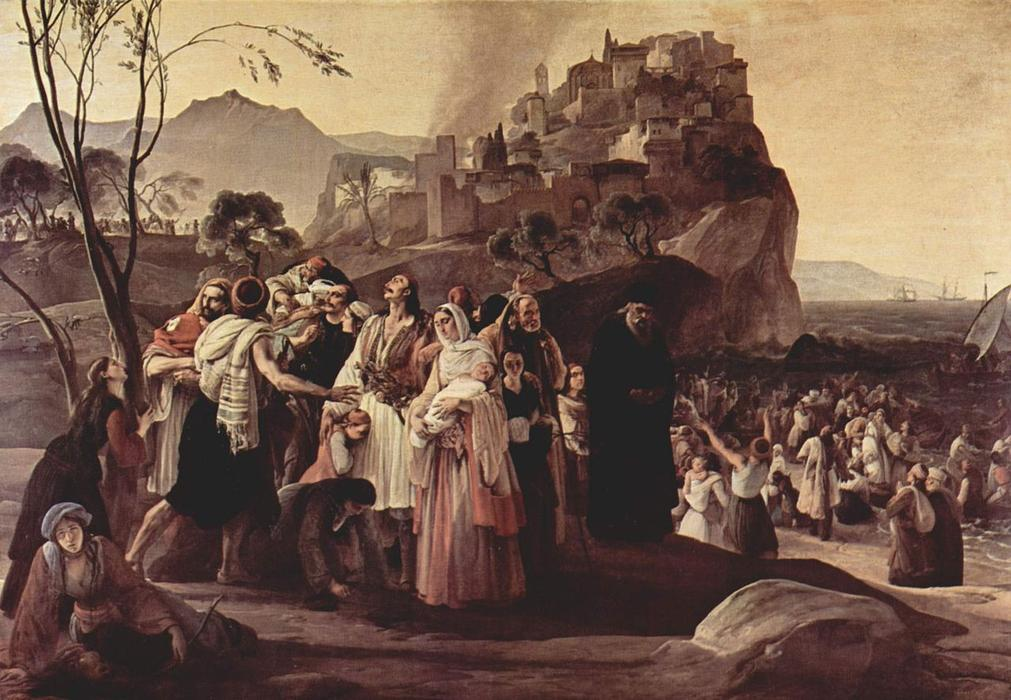 Refugees of Parga, 1831 by Francesco Hayez (1791-1882, Italy) | Museum Quality Reproductions | WahooArt.com