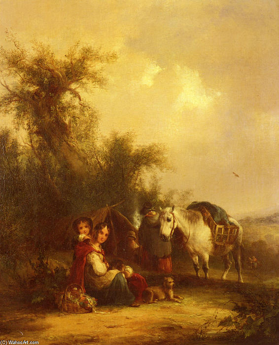 Resting Along The Trail by William Shayer Senior (1788-1879, United Kingdom) | Museum Quality Reproductions | WahooArt.com