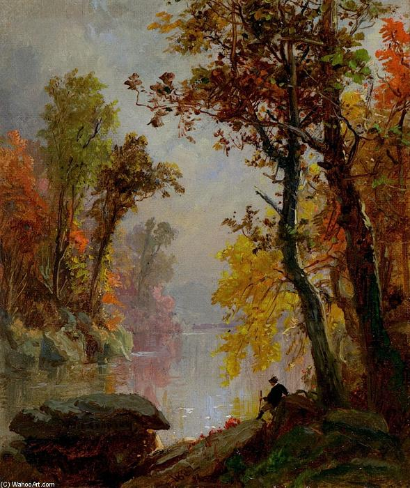 Resting by the Riverside, Oil On Canvas by Jasper Francis Cropsey (1823-1900, United States)