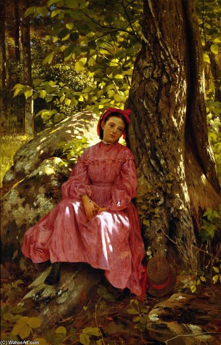 Resting in the Woods, 1866 by John George Brown (1831-1913, United Kingdom) | WahooArt.com