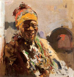 Order Art Reproductions | Retrato de negra by Jose Navarro Llorens (1867-1923, Spain) | WahooArt.com