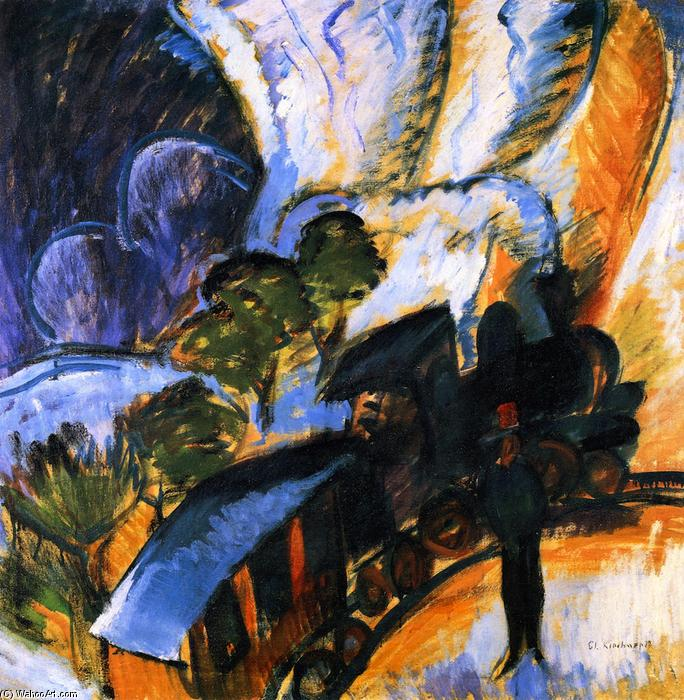Rhätische Bahn, Davos, Oil On Canvas by Ernst Ludwig Kirchner (1880-1938, Germany)