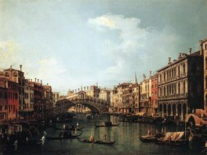 Giovanni Antonio Canal (Canaletto) - Rialto Bridge from the South