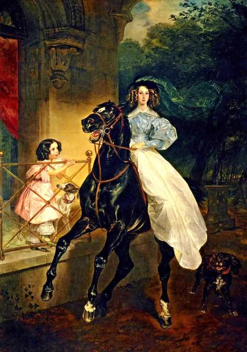 Rider. Portrait of Giovanina and Amacilia Pacini, the Foster Children of Countess Yu. P. Samoilova, 1832 by Karl Pavlovich Brulloff | Painting Copy | WahooArt.com
