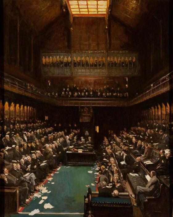 The Right Honourable J. Ramsay Macdonald Addressing the House of Commons, Oil On Canvas by John Lavery (1856-1941, Ireland)