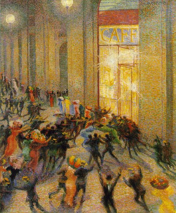 Riot (also known as Riot in the Galleria), 1910 by Umberto Boccioni (1882-1916, Italy) | Museum Quality Reproductions | WahooArt.com