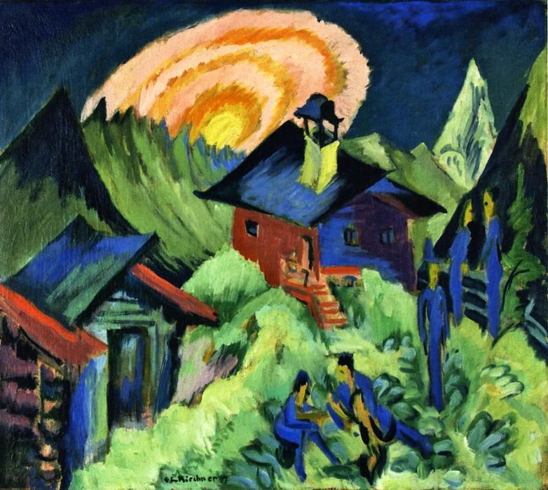 Rising Moon on the Stafelalp, 1917 by Ernst Ludwig Kirchner (1880-1938, Germany) | Painting Copy | WahooArt.com