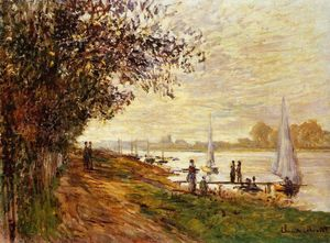 Claude Monet - The Riverbank at Le Petit-Gennevilliers, Sunset