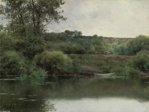 Emilio Sanchez-Perrier - A Riverbank in Poissy