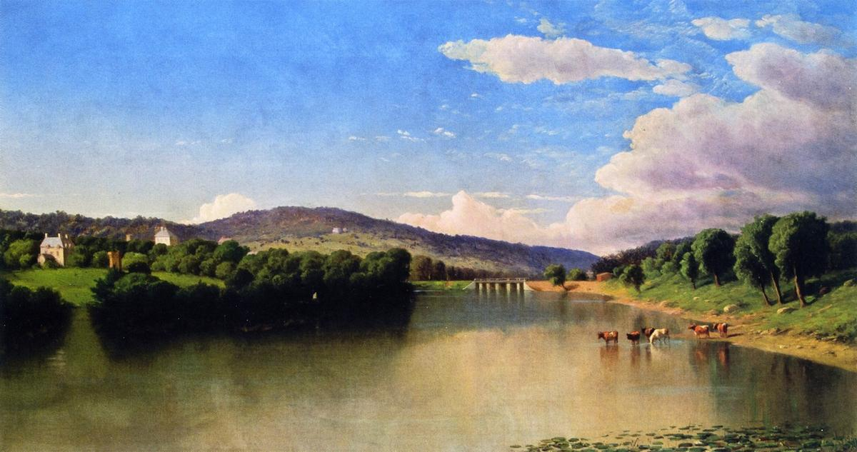 River Landscape, Oil On Canvas by John Williamson (1945-1885, United States)
