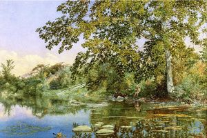 John William Hill - River Landscape with Boy Fishing