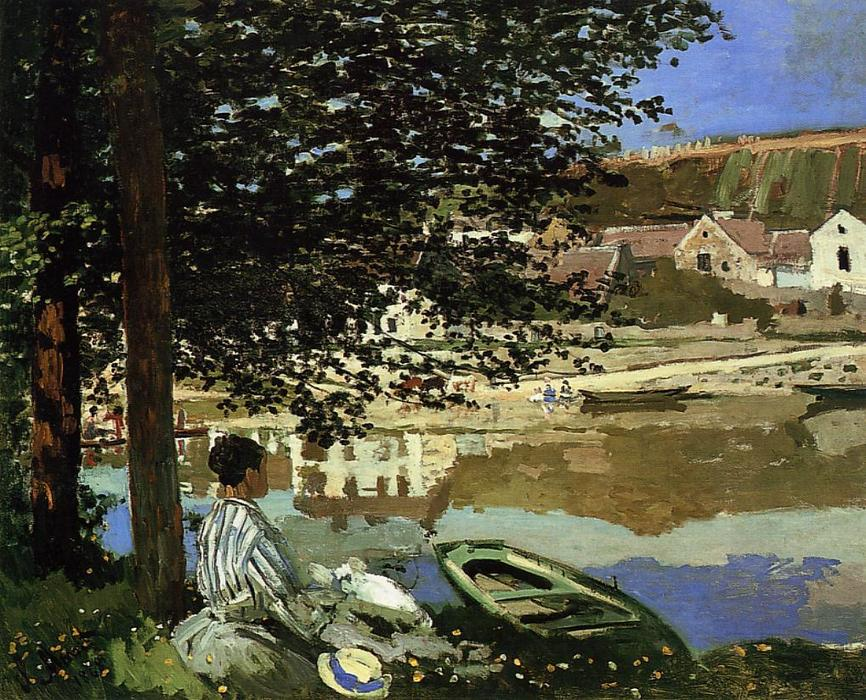 Order Museum Quality Copies | River Scene at Bennecourt, 1868 by Claude Monet (1840-1926, France) | WahooArt.com