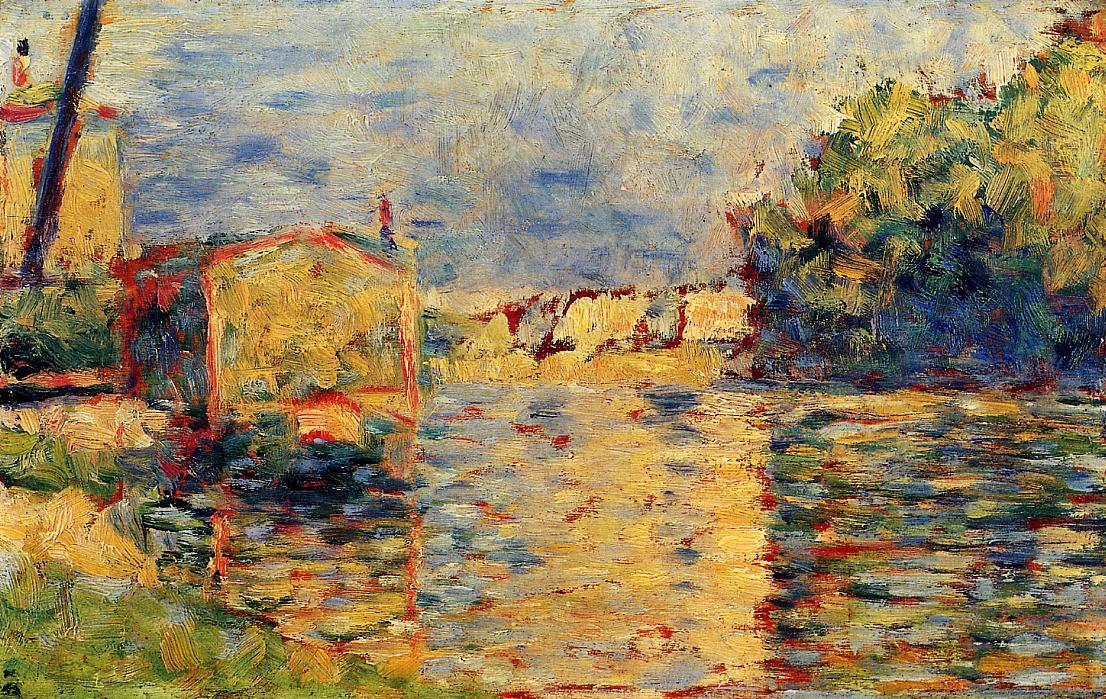 River's Edge, Tempera by Georges Pierre Seurat (1859-1891, France)