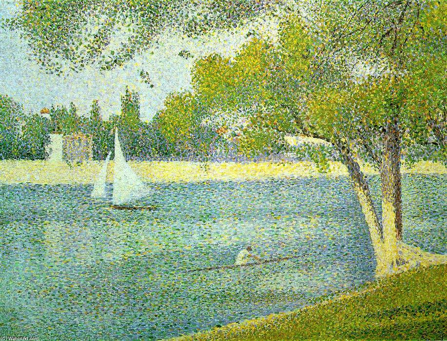 The river Seine at La Grande-Jatte, Oil On Canvas by Georges Pierre Seurat (1859-1891, France)