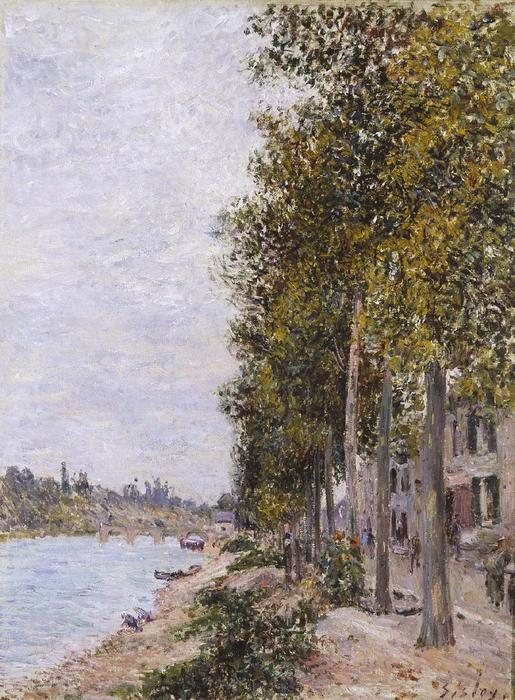 Road Along the Seine at Saint Mammes, 1880 by Alfred Sisley (1839-1899, France) | Museum Quality Reproductions | WahooArt.com