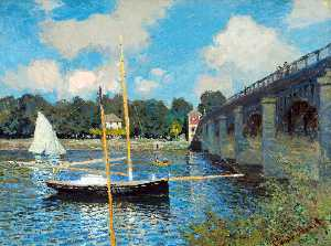 Order Oil Painting : The Road Bridge at Argenteuil, 1874 by Claude Monet (1840-1926, France) | WahooArt.com