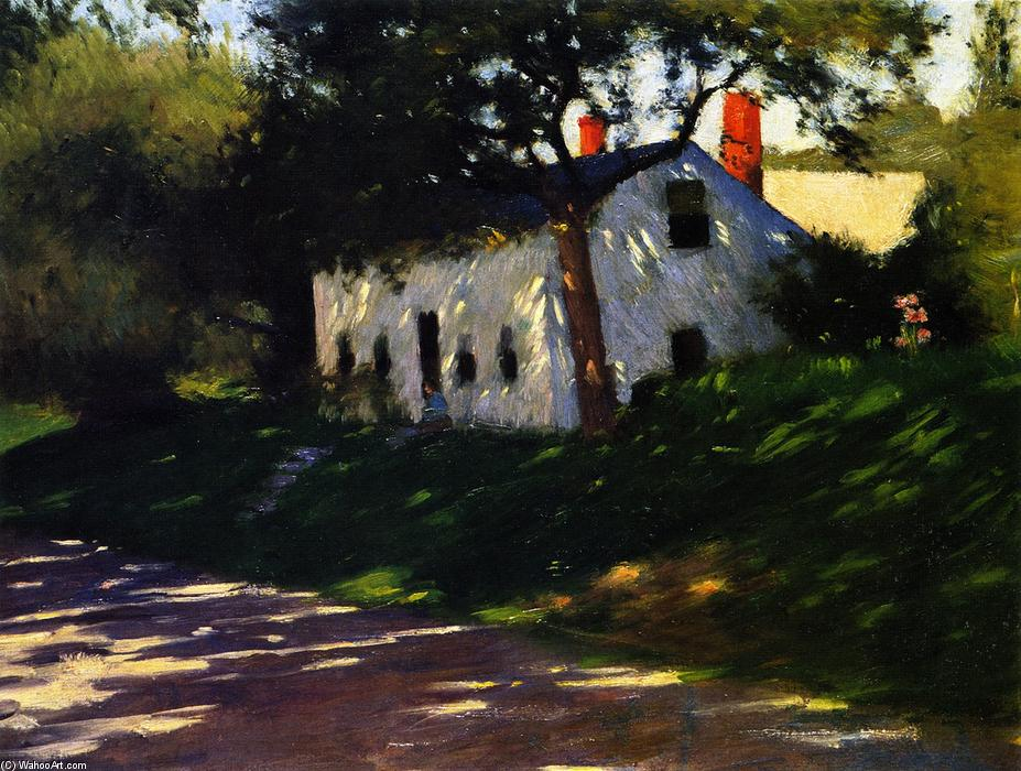Roadside Cottage, Medfield, Mass., Oil On Canvas by Dennis Miller Bunker (1861-1890, United States)