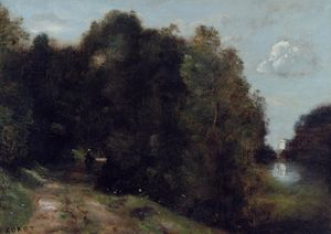 Jean Baptiste Camille Corot - A Road through the Trees