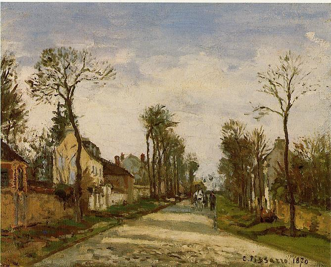 Order Painting Copy : The Road to Versailles at Louveciennes, 1870 by Camille Pissarro (1830-1903, United States) | WahooArt.com
