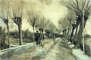 Vincent Van Gogh - Road with Pollarded Willows and a Man with a Broom