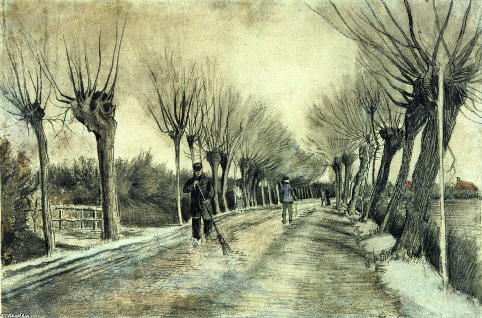 Order Paintings Reproductions | Road with Pollarded Willows and a Man with a Broom, 1881 by Vincent Van Gogh (1853-1890, Netherlands) | WahooArt.com